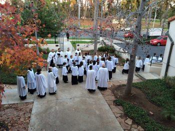 choir in courtyard outside